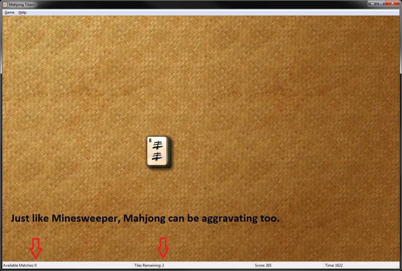Mahjong Aggravation.  Zero available matches.  Two tiles remaining.