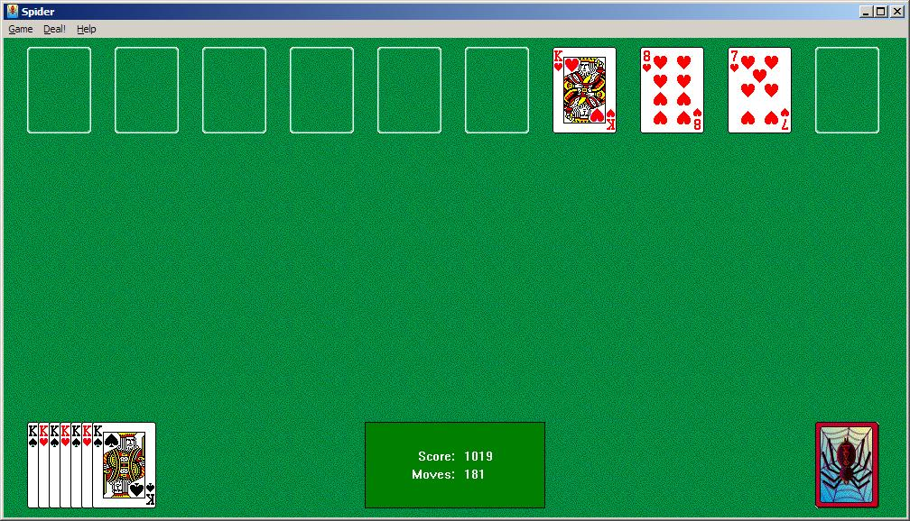 Picture of Microsoft's Spider Solitaire